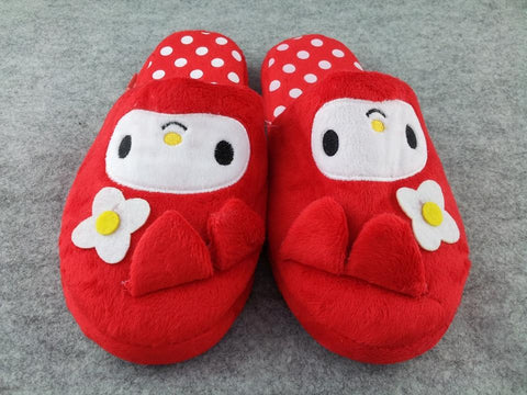 My Melody Kuromi Kawaii Cuite Cosplay Adult Plush Rave Shoes Doll Slippers Red 10""