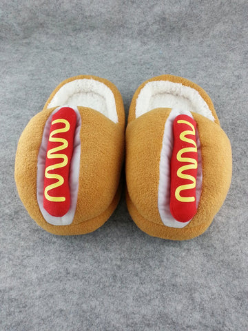 "Brown Fresh Bread Hotdog Cosplay Adult Plush Rave Shoes Slippers 10"" T3"