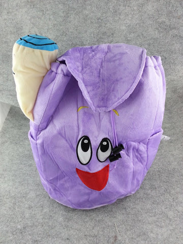 Dora the explorer Purple Soft Furry Plush School HandBag Backpack Bag Travel Bag