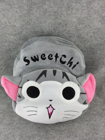 Gray Cartoon Cat Soft Furry Plush School HandBag Backpack Bag Travel Bag