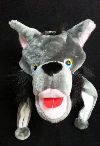 Newest and Cute Wild Grey Wolf w/ Black Hair Plushy Warm Cosplay Hat Earmuff