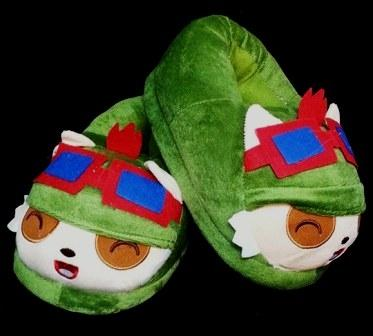Cute Kawaii Anime Furry Plush Cosplay League of legends Teemo Green Anti-slip Slippers