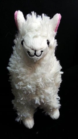 *NEW* Small Alpaca llama Soft Plush Furry beanie Animal Stuffed Toy White w/ pink ear