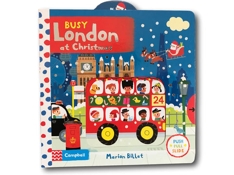 Campbell Busy London at Christmas Kids Children Baby Push Pull Slide Board Book