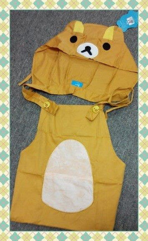 New Arrival Japanese Cartoon Brown Rilakkuma Bear Cosplay Apron with Pocket and Hat