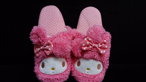 "My Melody Kuromi Kawaii Cuite Cosplay Plush Rave Shoes Slippers 10"" Pink Dot Pattern"