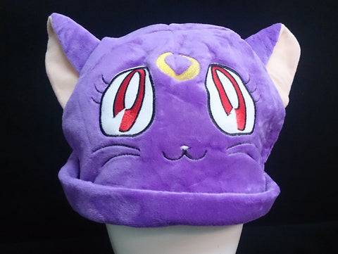 Sailor Moon Cat Luna Cosplay Furry Plush Hat Beanie Cap - Purple