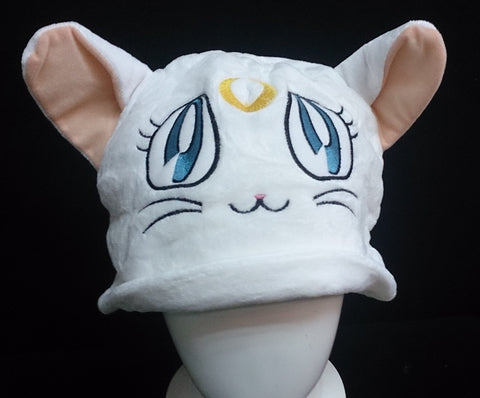 Sailor Moon Cat Luna Cosplay Furry Plush Hat Beanie Cap - White