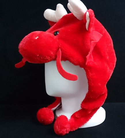 Cute Chinese Legend Animal Dragon Cosplay Costume Soft Warm Lucky Hat - RED
