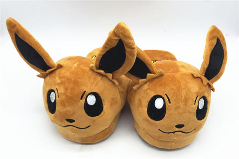 NEW Pocket Monster Pikachu Pokemon Brown Eevee Soft Plush Slippers Shoes 28cm