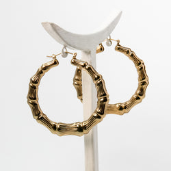 Gold Plated Bamboo Hoops