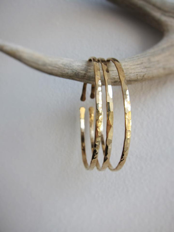 Thin Hammered Brass Bangle