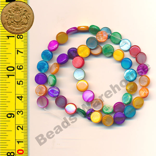 "Multi-colour Natural Shell Beads 15-16"" (38cm) strand - Coin 8mm Beads"