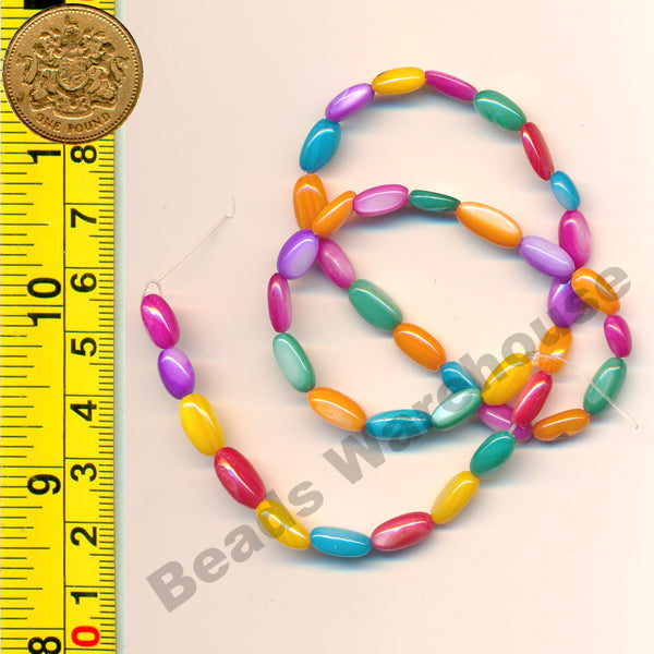 "Multi-colour Natural Shell Beads 15-16"" (38cm) strand - Rice 5x9mm Beads"