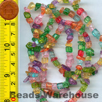 "Crackle Glass (mixed colour) - Tumble Chips Beads 34-36"" Long Strand"