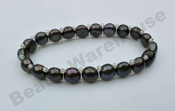 Freshwater Pearls - Black Pearls Bracelet (1 Row Button Beads)