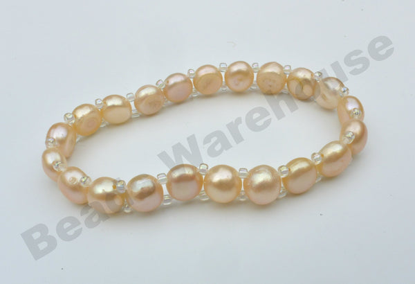 Freshwater Pearls - Pink Pearls Bracelet (1 Row Button Beads)