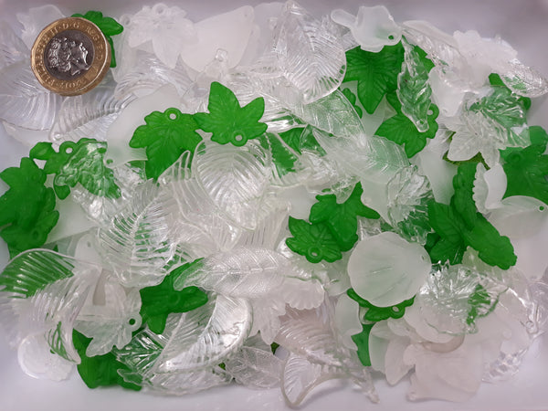 BULK BAG 150 gms - Mixed Acrylic Frosted Leaves