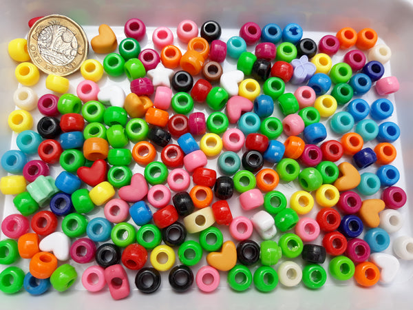 BULK BAG 200 gms - Mixed Acrylic 9mm Pony Beads