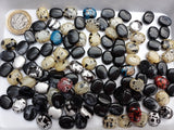 BULK BAG 200 gms - Mixed Acrylic Bean 13x11mm Black / Cream Beads