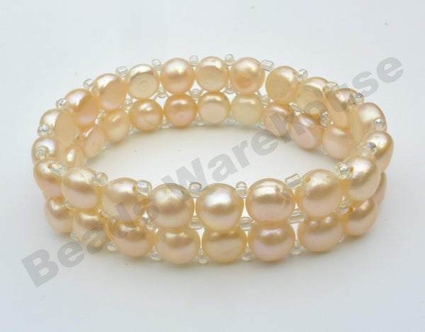 Freshwater Pearls - Pink Pearls Bracelet (2 Rows Button Beads)