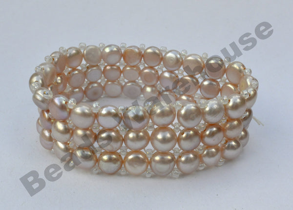 Freshwater Pearls - Mauve Pearls Bracelet (3 Rows Button Beads)