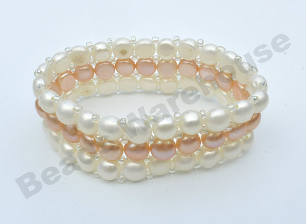 Freshwater Pearls - White+Pink Pearls Bracelet (3 Rows Button Beads)
