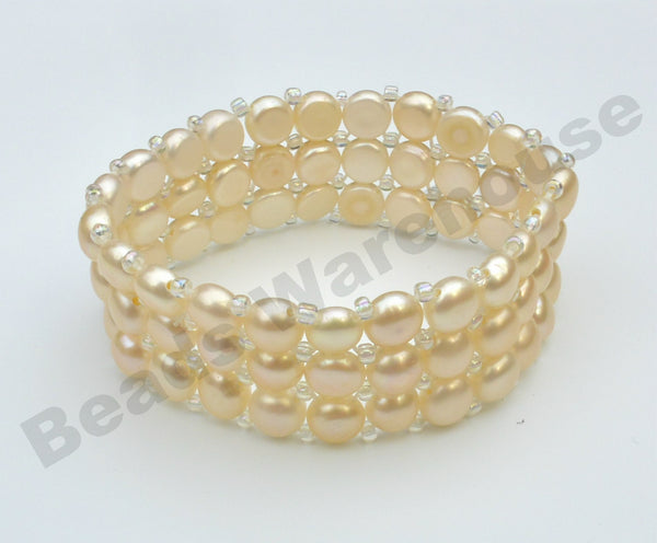 Freshwater Pearls - Pink Pearls Bracelet (3 Rows Button Beads)