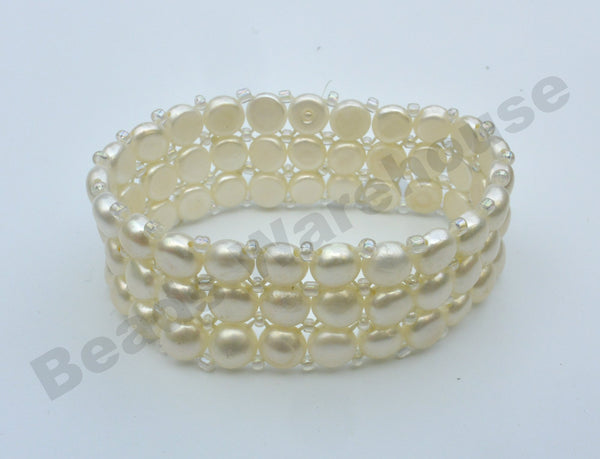 Freshwater Pearls - White Pearls Bracelet (3 Rows Button Beads)