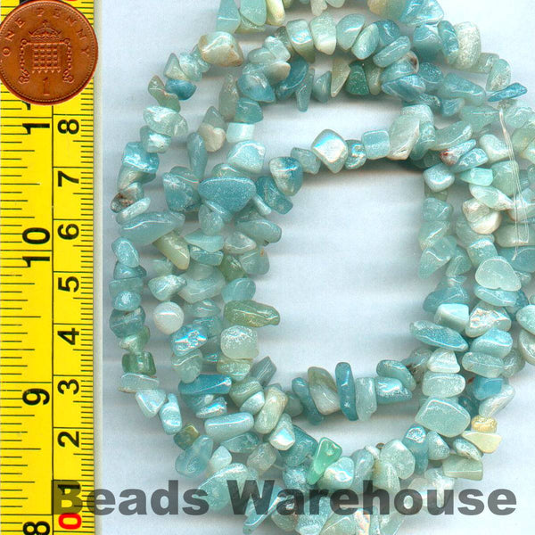 "Amazonite - Gemstone Crystal Tumble Chips Beads 34-36"" Long Strand"