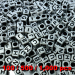 Acrylic Alphabet Beads 6mm Cube (2nd Grade White Cube) Mixed Letters x 100/500/1000 pcs