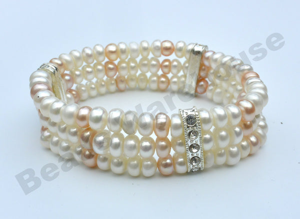 Freshwater Pearls - White+Pink Pearls Bling Bracelet (3 Rows Button Beads)