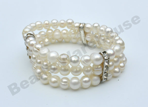 Freshwater Pearls - White Pearls Bling Bracelet (3 Rows Potato Beads)
