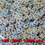 Acrylic Alphabet Beads 6mm Cube (White Cube) Mixed Colour Letters x 100/500/1000 pcs