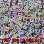 Acrylic Alphabet Beads 6mm Cube (White Cube) Mixed Bright Colour Letters x 100/500/1000 pcs