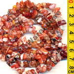 "Carnelian - Gemstone Crystal Tumble Chips Beads 34-36"" Long Strand"