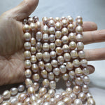 [#F2] Freshwater Pearls 9x11mm Barrow Pink / Mauve Colour