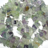 "Fluorite - Gemstone Crystal Tumble Chips Beads 34-36"" Long Strand"
