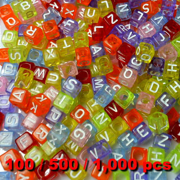 Acrylic Alphabet Beads 6mm Cube (Multicolour Jelly) Mixed Letters x 100/500/1000 pcs