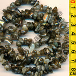 "Labradorite - Gemstone Crystal Tumble Chips Beads 34-36"" Long Strand"