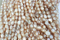 [#B] Freshwater Pearls 8x11mm Baroque Nugget Pink / Light Pink / Mauve Colour