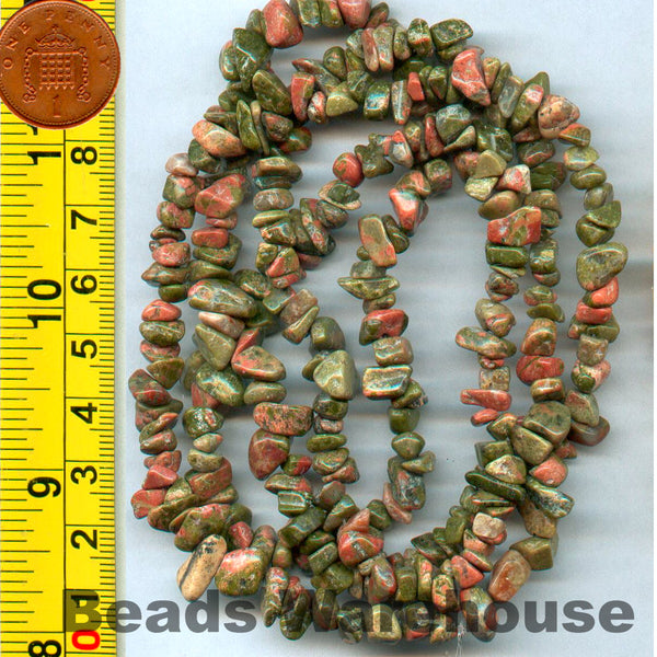 "Unakite - Gemstone Crystal Tumble Chips Beads 34-36"" Long Strand"