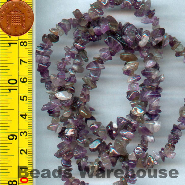 "Amethist - Gemstone Crystal Tumble Chips Beads 34-36"" Long Strand"
