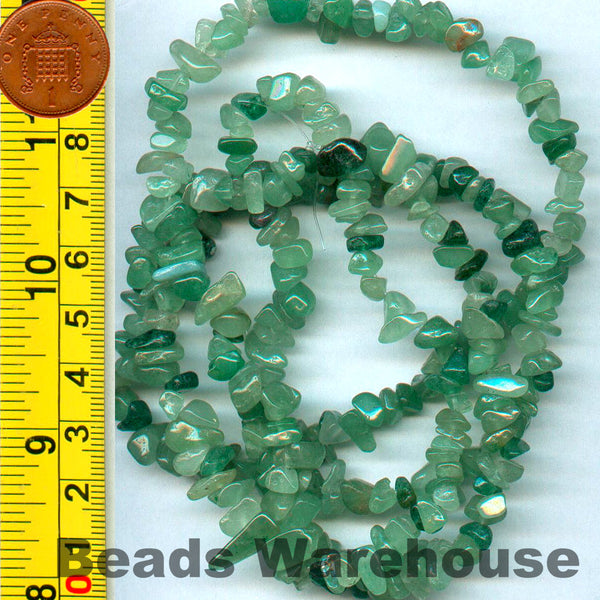 "Aventurine (Green) - Gemstone Crystal Tumble Chips Beads 34-36"" Long Strand"