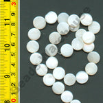 "Natural White Shell Beads 15-16"" strand - Coin 12mm"