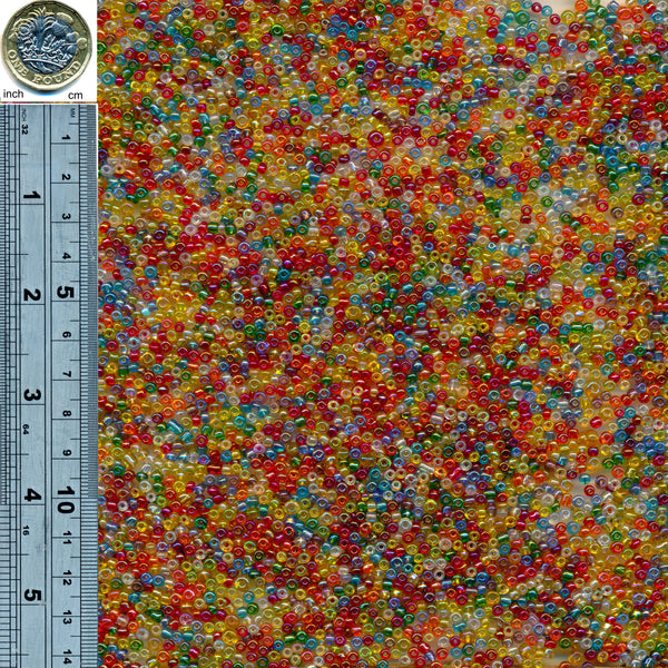 Glass Seed Beads [Size 8/0] 200gms - Transparent Mixed Colour