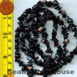 "Gold Sand (Blue) - Gemstone Crystal Tumble Chips Beads 34-36"" Long Strand"