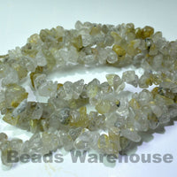 "Rutilated Quartz - Gemstone Crystal Tumble Chips Beads 34-36"" Long Strand"
