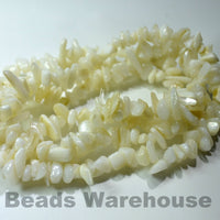 "Natural White Shell - Tumble Chips Beads 34-36"" Long Strand"
