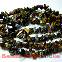 "Tiger's Eye - Gemstone Crystal Tumble Chips Beads 34-36"" Long Strand"